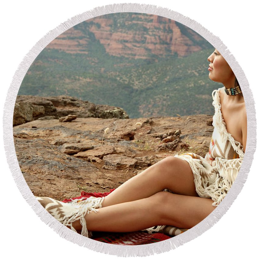 Native American Round Beach Towel featuring the photograph A View by Scott Sawyer