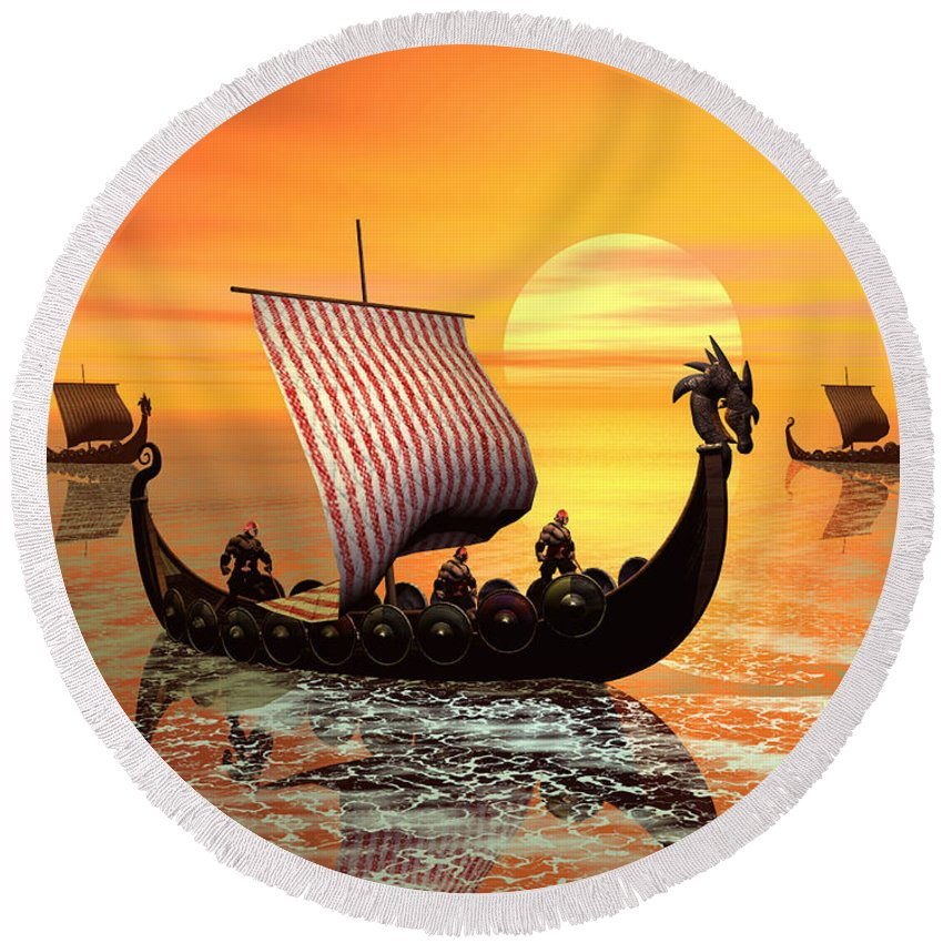 The Vikings Are Coming Round Beach Towel featuring the digital art The Vikings Are Coming by John Junek