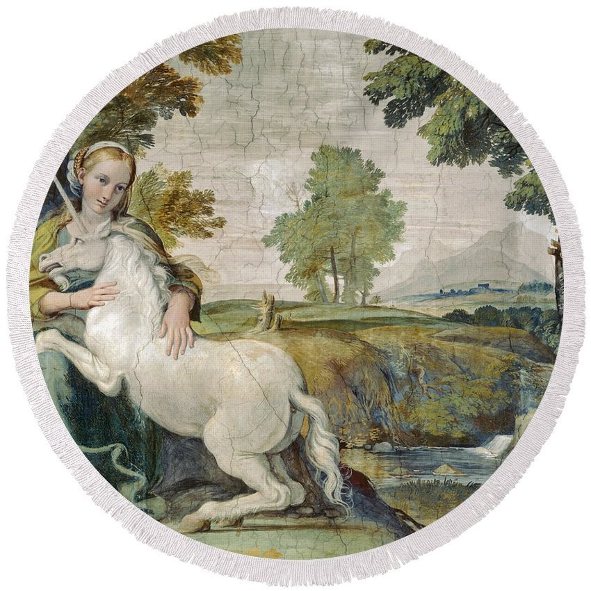 Domenichino Round Beach Towel featuring the painting A Virgin With A Unicorn by Domenichino