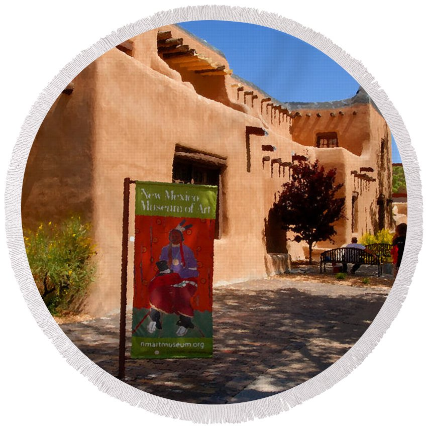 New Mexico Museum Of Art Round Beach Towel featuring the painting A Visit To The Museum by David Lee Thompson
