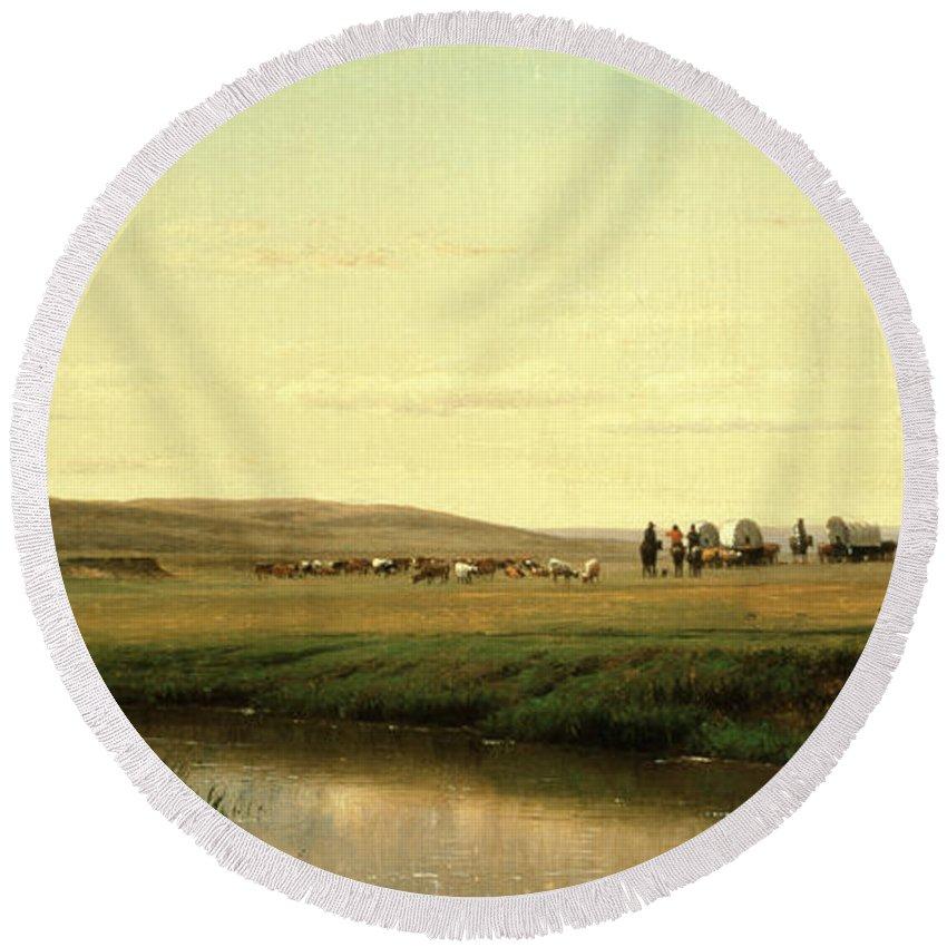 A Wagon Train On The Plains (oil On Board) By Thomas Worthington Whittredge (1820-1910) Round Beach Towel featuring the painting A Wagon Train on the Plains by Thomas Worthington Whittredge