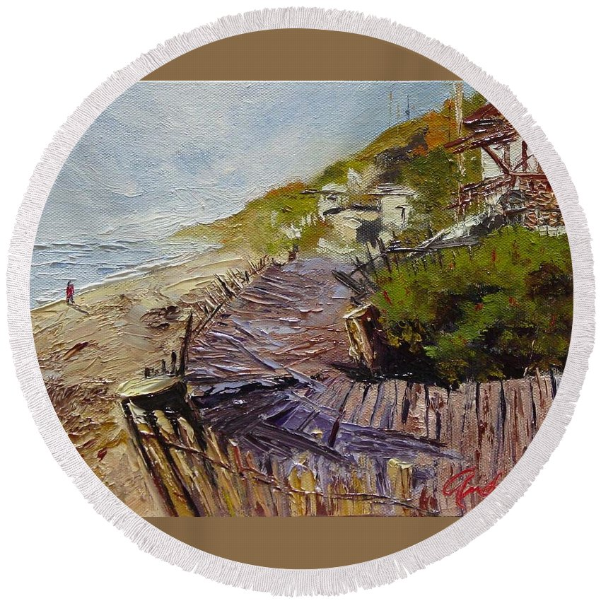 Beach Round Beach Towel featuring the painting A Walk On The Beach by Barbara Andolsek