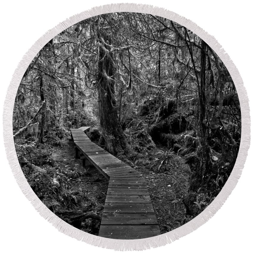 Black And White Round Beach Towel featuring the photograph A Walk Through The Willowbrae Rainforest Black And White by Adam Jewell