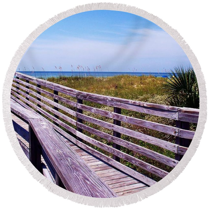 Beach Round Beach Towel featuring the photograph A Walk To The Beach by Robin Monroe