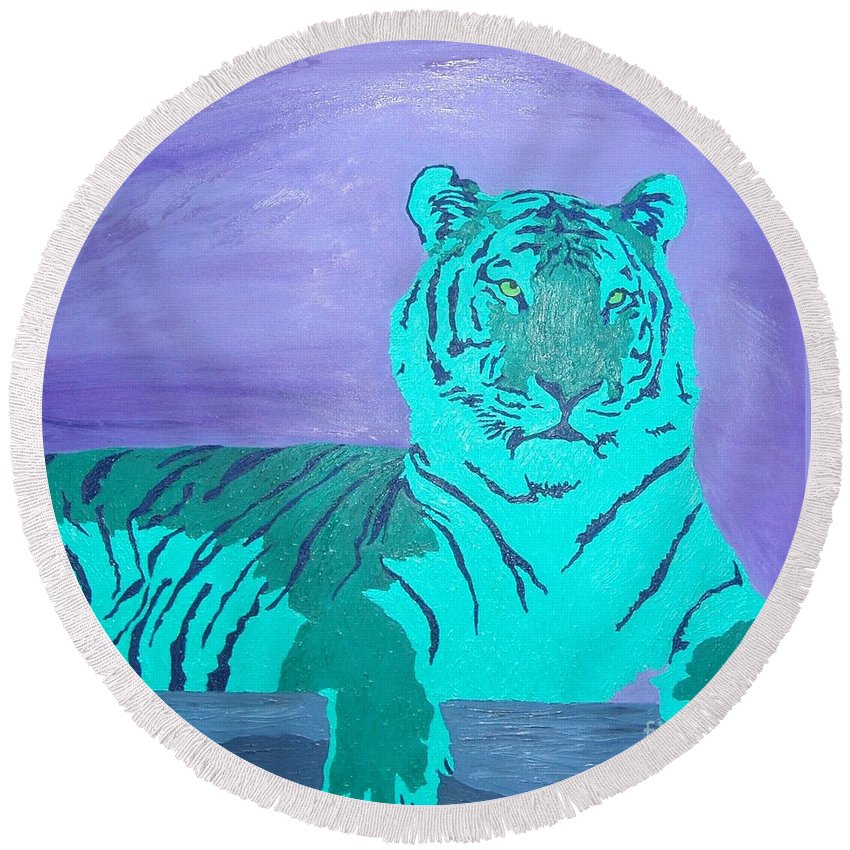 Tiger Round Beach Towel featuring the painting A Watchful Queen by Amy Pugh