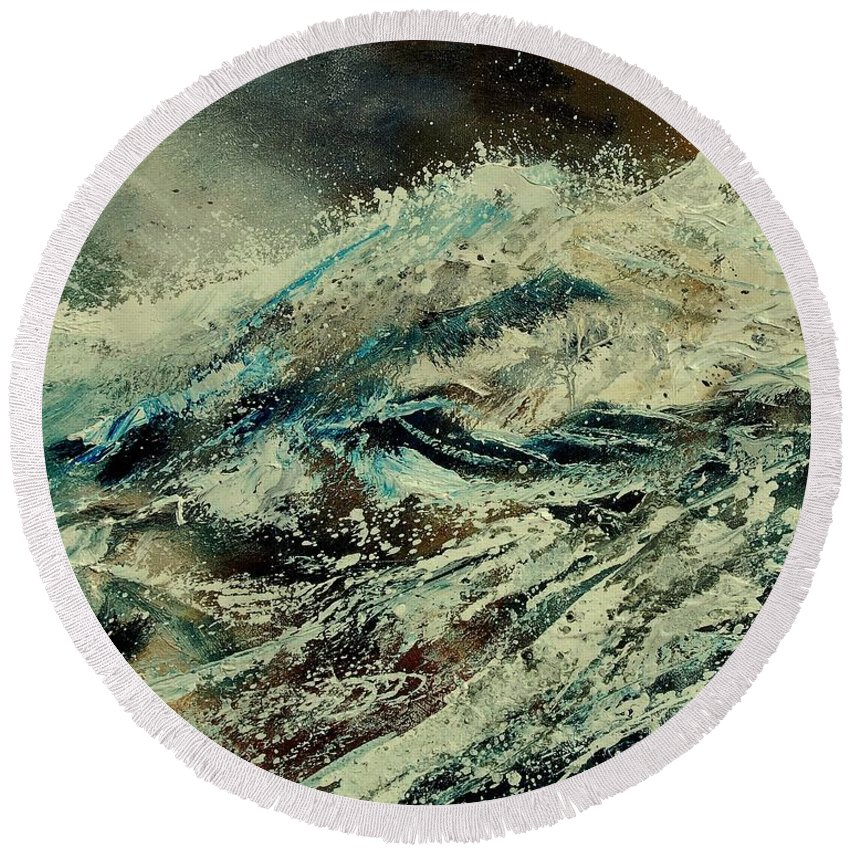 Sea Round Beach Towel featuring the painting A Wave by Pol Ledent