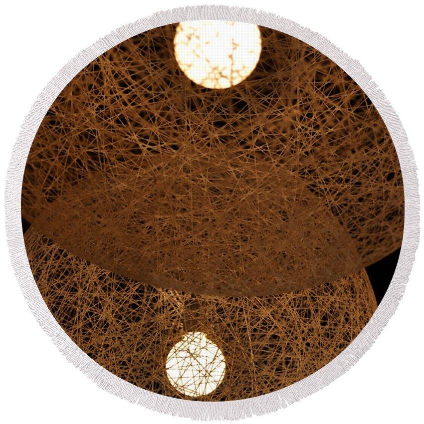 Clay Round Beach Towel featuring the photograph A Web Of Photons by Clayton Bruster