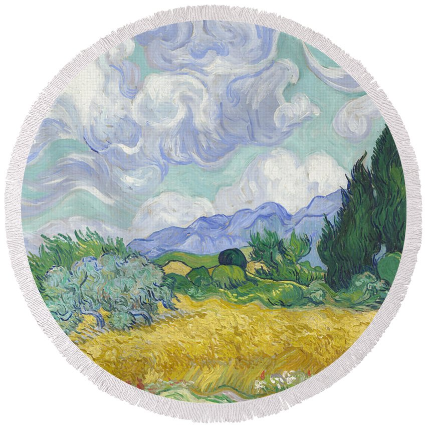 Clouds Round Beach Towel featuring the painting A Wheat Field, With Cypresses by Vincent van Gogh