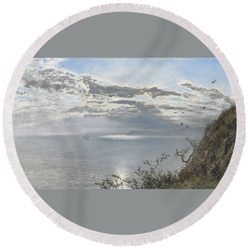Henry Moore Round Beach Towel featuring the painting A White Calm After Thunder Showers by MotionAge Designs