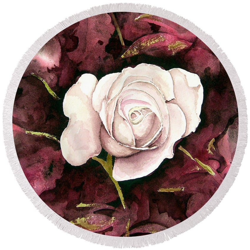 Flower Round Beach Towel featuring the painting A White Rose by Sam Sidders