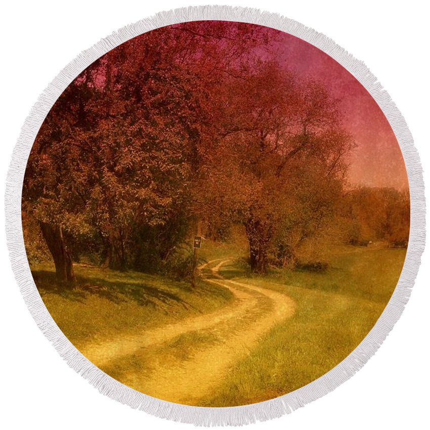 Country Round Beach Towel featuring the photograph A Winding Road - Bayonet Farm by Angie Tirado