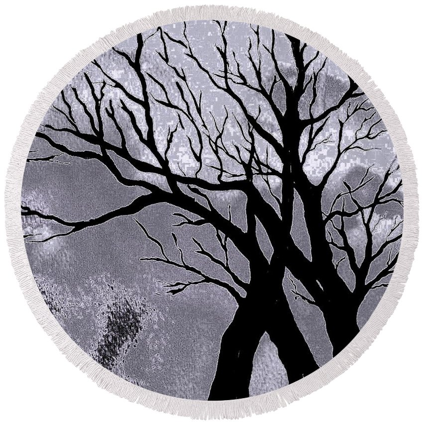 Trees Silhouette Round Beach Towel featuring the painting A Winter Night Silhouette by Hazel Holland