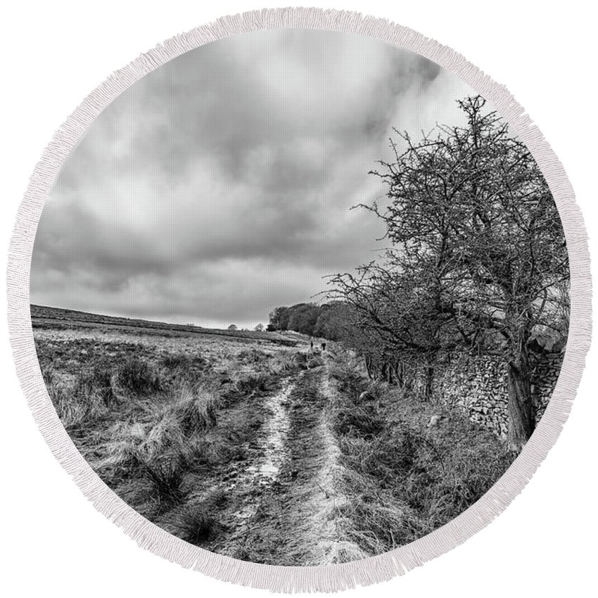 Winter Round Beach Towel featuring the photograph A Winter Track by Nick Bywater