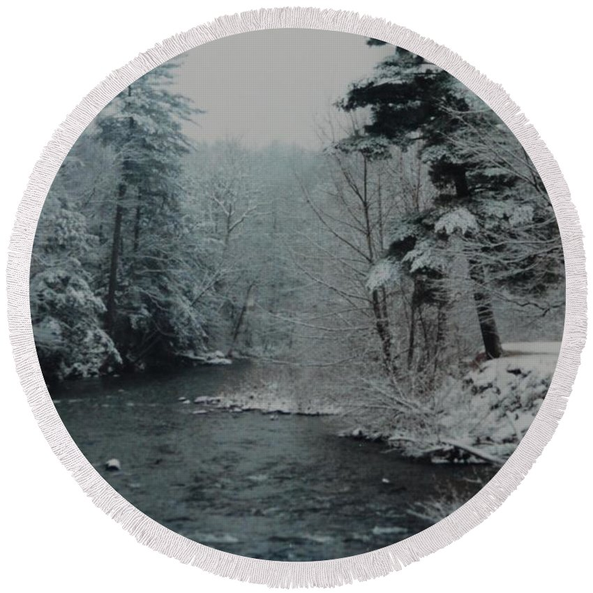 B&w Round Beach Towel featuring the photograph A Winter Waterland by Rob Hans
