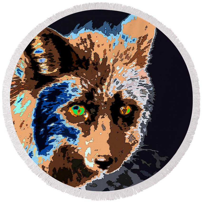 Art Round Beach Towel featuring the painting A Wolf Staring by David Lee Thompson