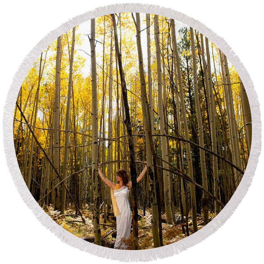 Aspen Round Beach Towel featuring the photograph A Woman In The Aspen by Scott Sawyer
