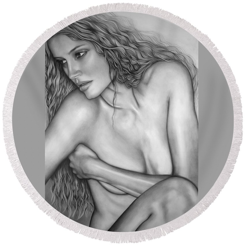 A Woman Round Beach Towel featuring the drawing A Womans Beauty by Larry Lehman