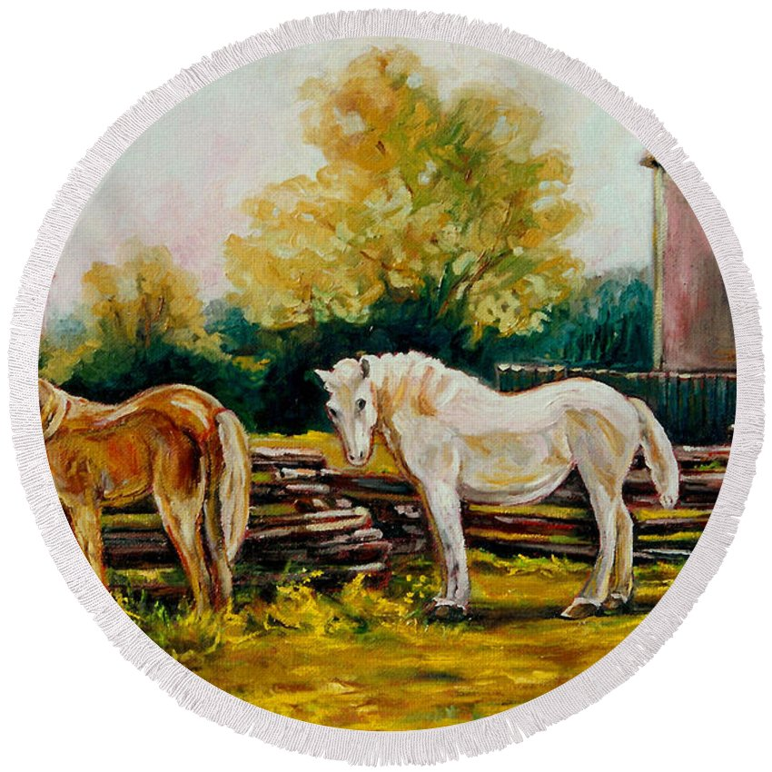 Horses Round Beach Towel featuring the painting A Wonderful Life by Carole Spandau