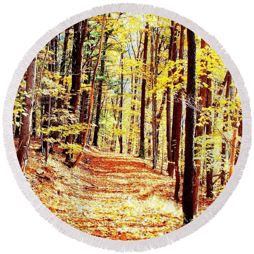 Autumn Round Beach Towel featuring the photograph A Yellow Wood by Joshua House