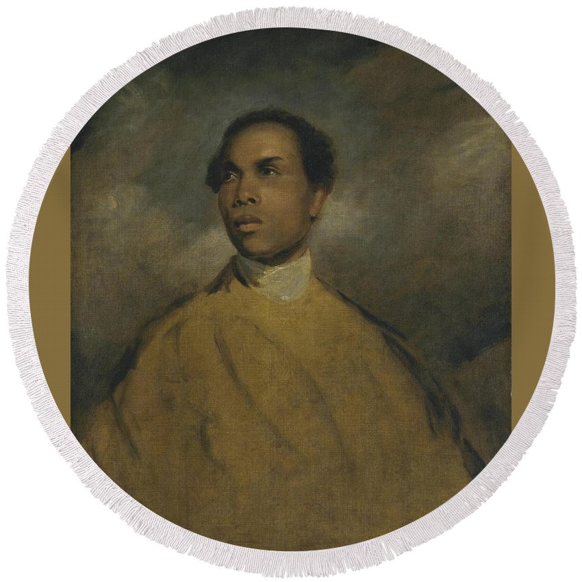 Manner Of Sir Joshua Reynolds 1723�1792  A Young Black (francis Barber) Round Beach Towel featuring the painting A Young Black by Joshua Reynolds
