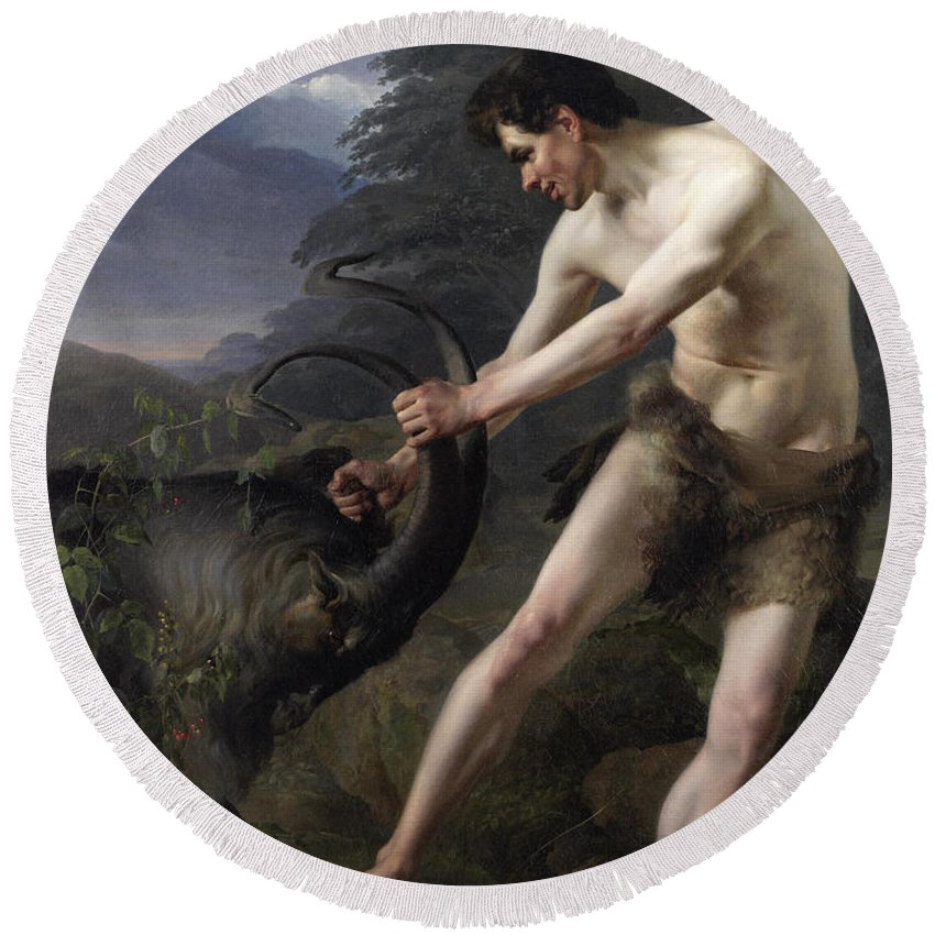 Friedrich Rehberg Round Beach Towel featuring the painting A Young Man Fighting A Goat by Friedrich Rehberg