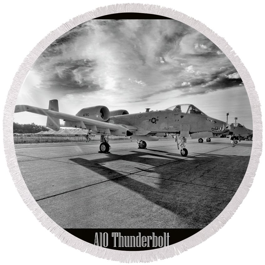 Airshow Round Beach Towel featuring the photograph A10 Thunderbolt by Greg Fortier