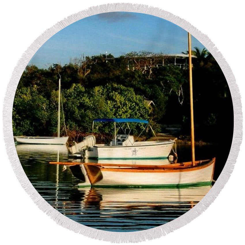 Boat Round Beach Towel featuring the photograph Abacos Quiet by Robert Nickologianis