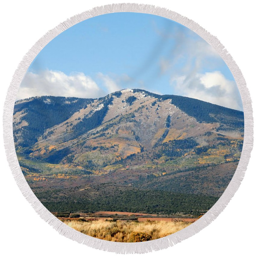 Abajo Mountains Utah Round Beach Towel featuring the photograph Abajo Mountains Utah by David Lee Thompson