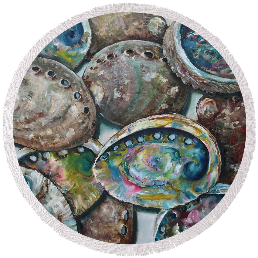 Abalone Round Beach Towel featuring the painting Abalone Shells by Kristine Kainer
