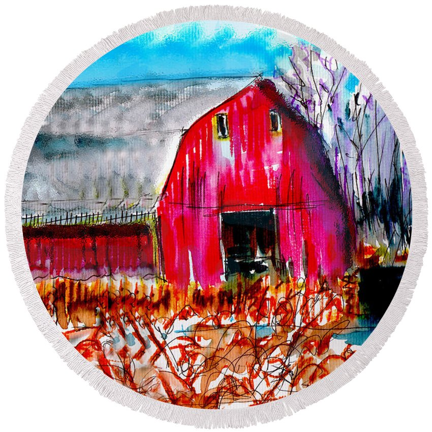 Abandoned Round Beach Towel featuring the painting Abandoned Barn by Seth Weaver