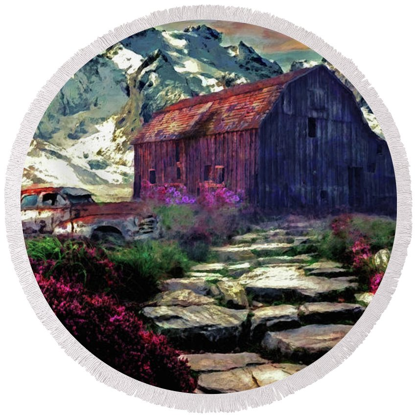 Landscape Round Beach Towel featuring the digital art Abandoned Beauties by Gallery Beguiled