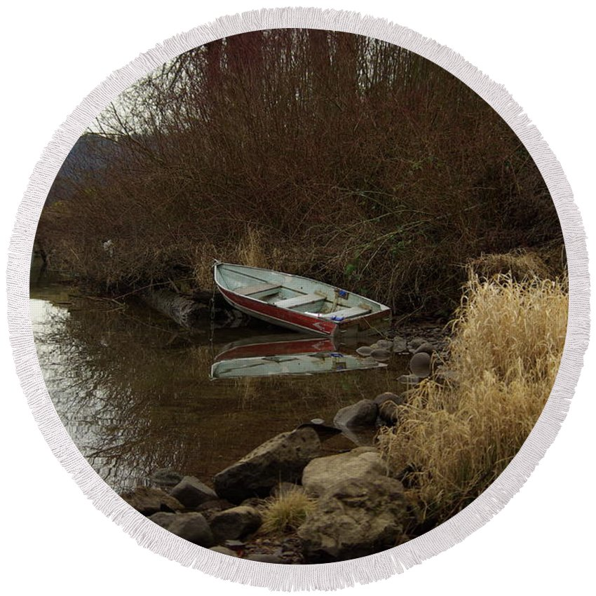 Abandoned Round Beach Towel featuring the photograph Abandoned Boat II by Cindy Johnston