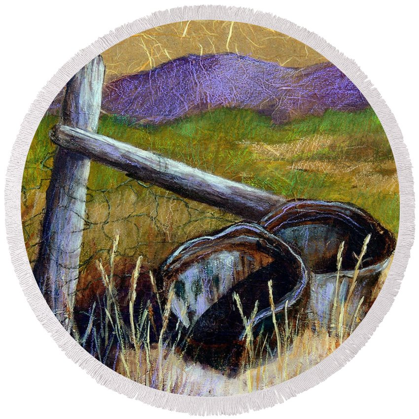 Landscape Round Beach Towel featuring the painting Abandoned by Candy Mayer