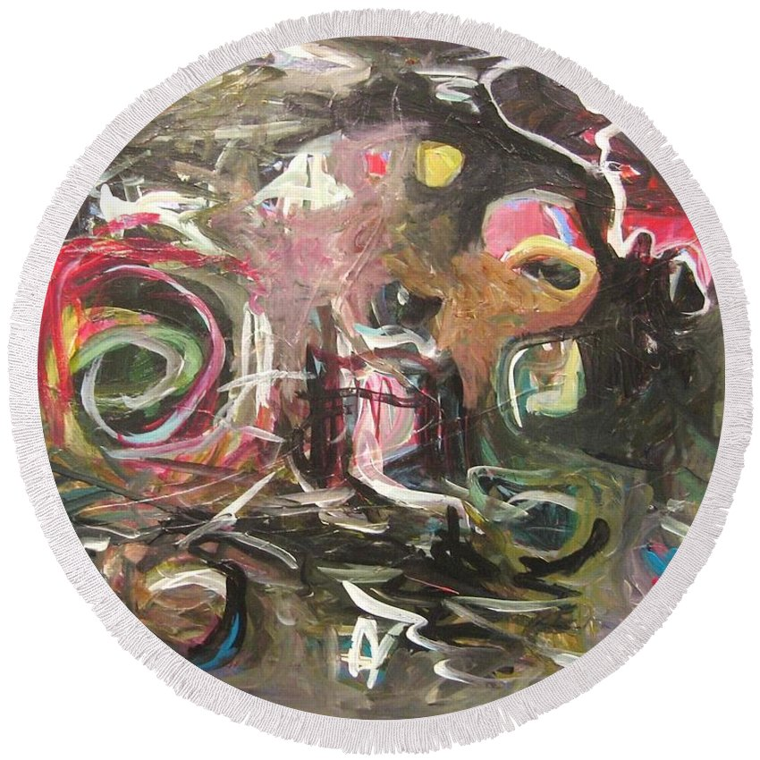 Abstract Paintings Round Beach Towel featuring the painting Abandoned Idea2 by Seon-Jeong Kim