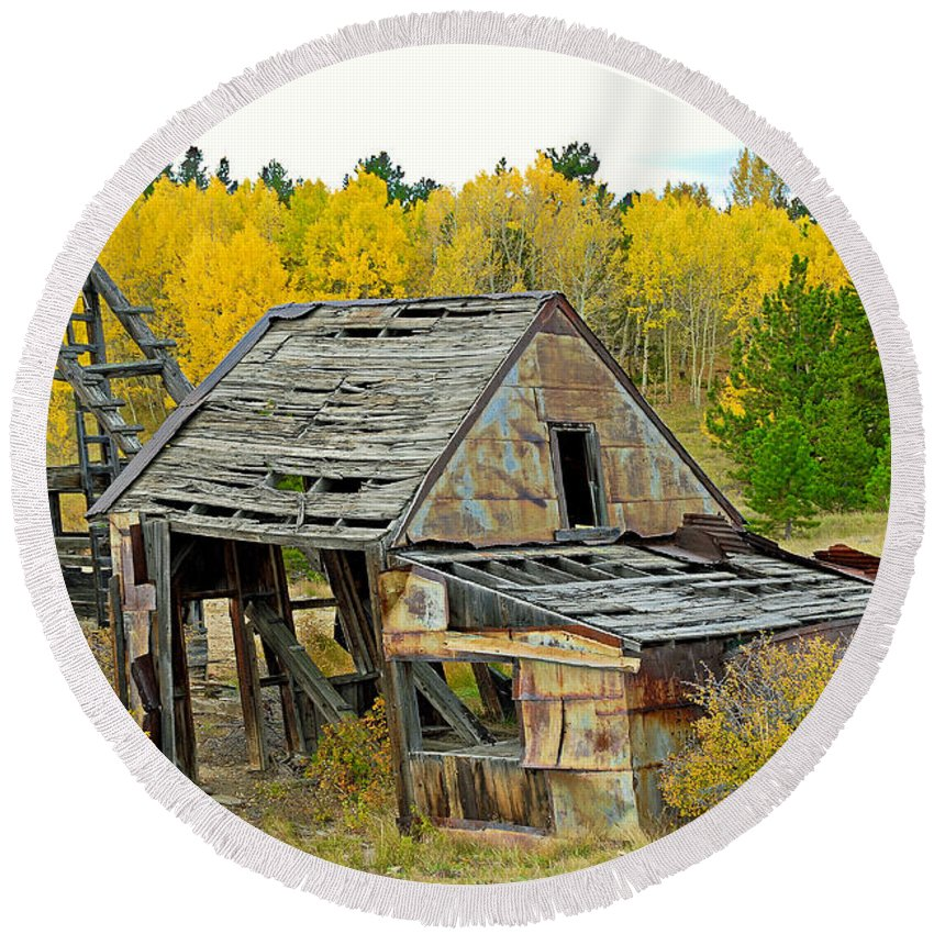 Abandoned Round Beach Towel featuring the photograph Abandoned Mine In Autumn by Robert Meyers-Lussier