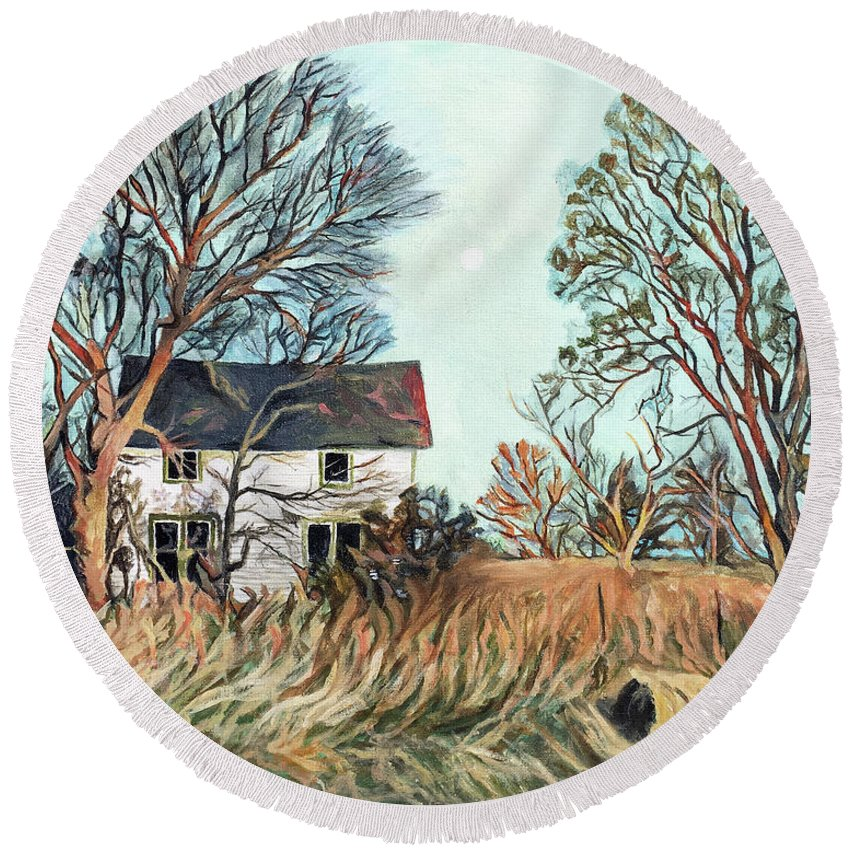 Abandoned House Round Beach Towel featuring the painting Abandoned Moonlight by Faythe Mills