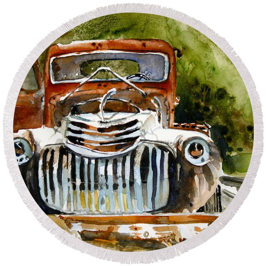 Rust Round Beach Towel featuring the painting Abandoned Truck by Shirley Sykes Bracken