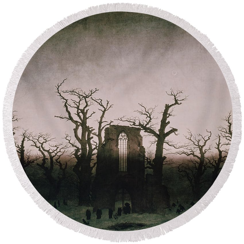 Bal5335 Round Beach Towel featuring the painting Abbey In The Oakwood by Caspar David Friedrich