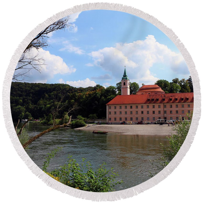 Abbey Round Beach Towel featuring the photograph Abbey Weltenburg And Danube River by Christiane Schulze Art And Photography