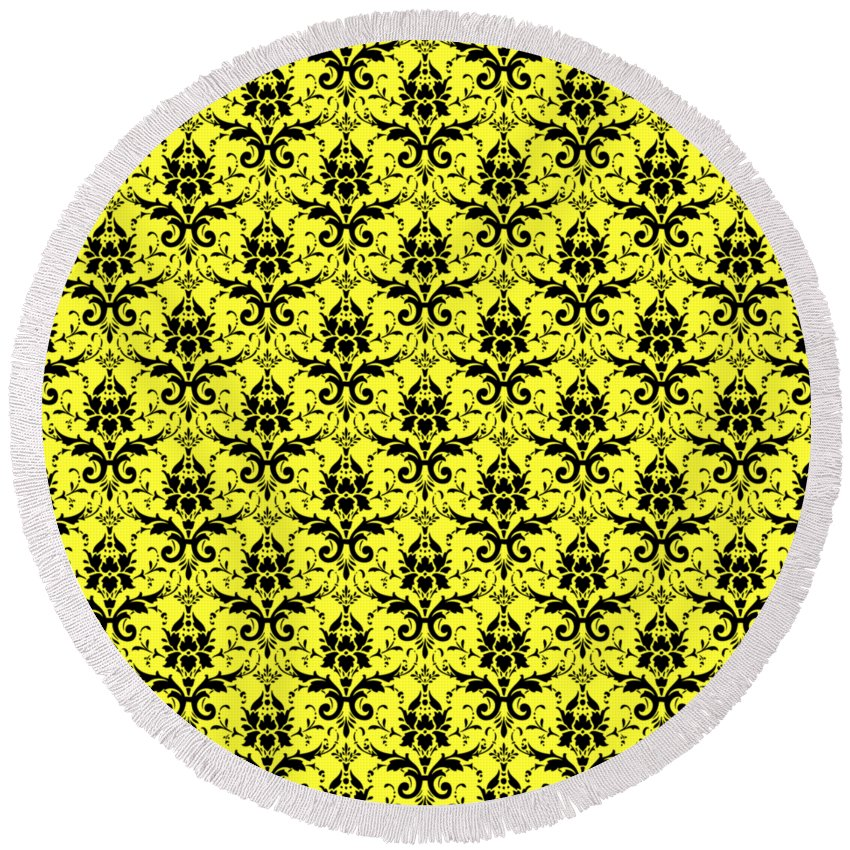 Damask Round Beach Towel featuring the digital art Abby Damask In Black Pattern 05-p0113 by Custom Home Fashions
