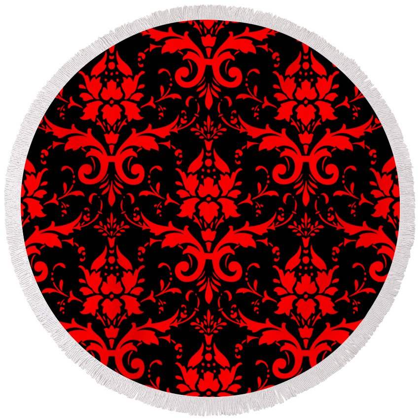 Damask Round Beach Towel featuring the digital art Abby Damask With A Black Background 02-p0113 by Custom Home Fashions
