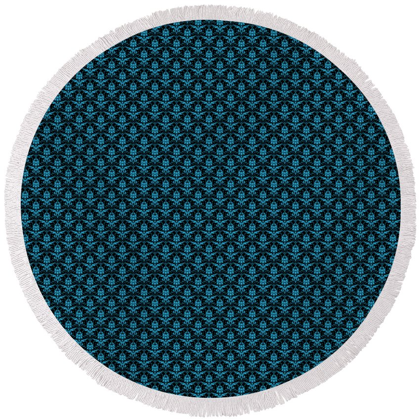 Damask Round Beach Towel featuring the digital art Abby Damask With A Black Background 18-p0113 by Custom Home Fashions