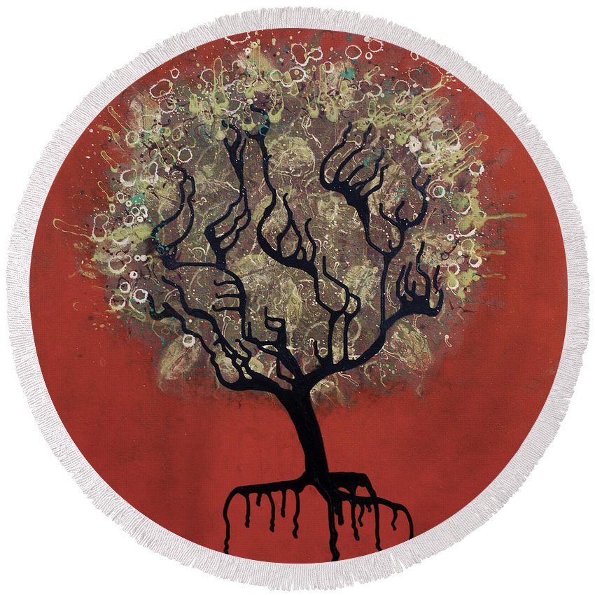 Tree Round Beach Towel featuring the painting Abc Tree by Kelly Jade King