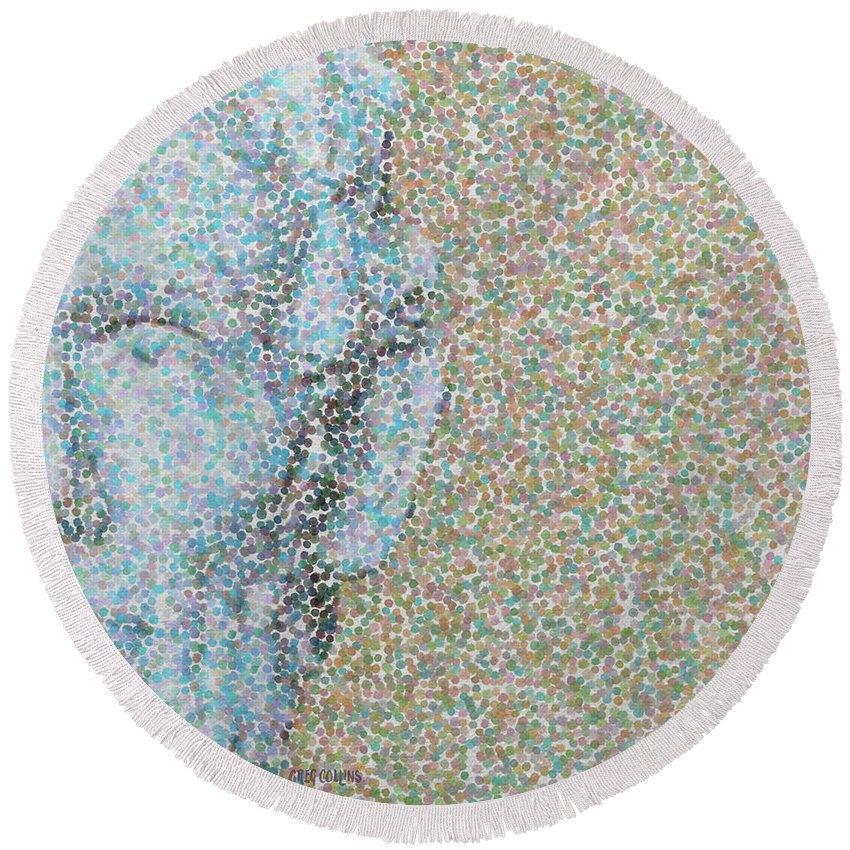 Pointillism Round Beach Towel featuring the painting Abe Left by Greg Collins