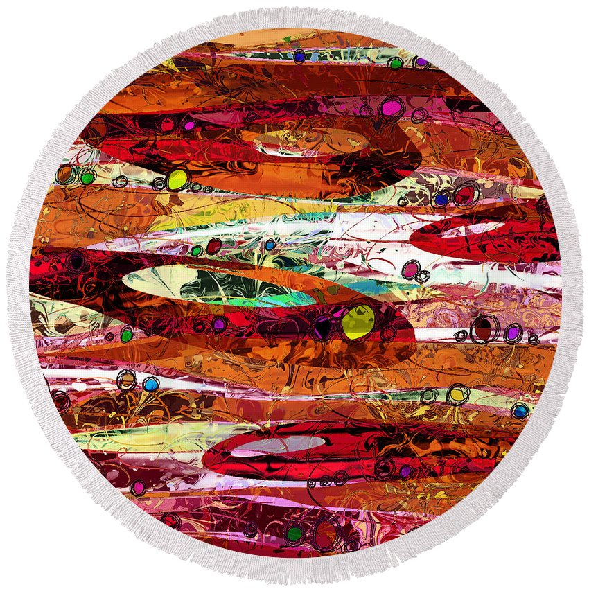 Abstract Round Beach Towel featuring the digital art Abiding by Rachel Christine Nowicki