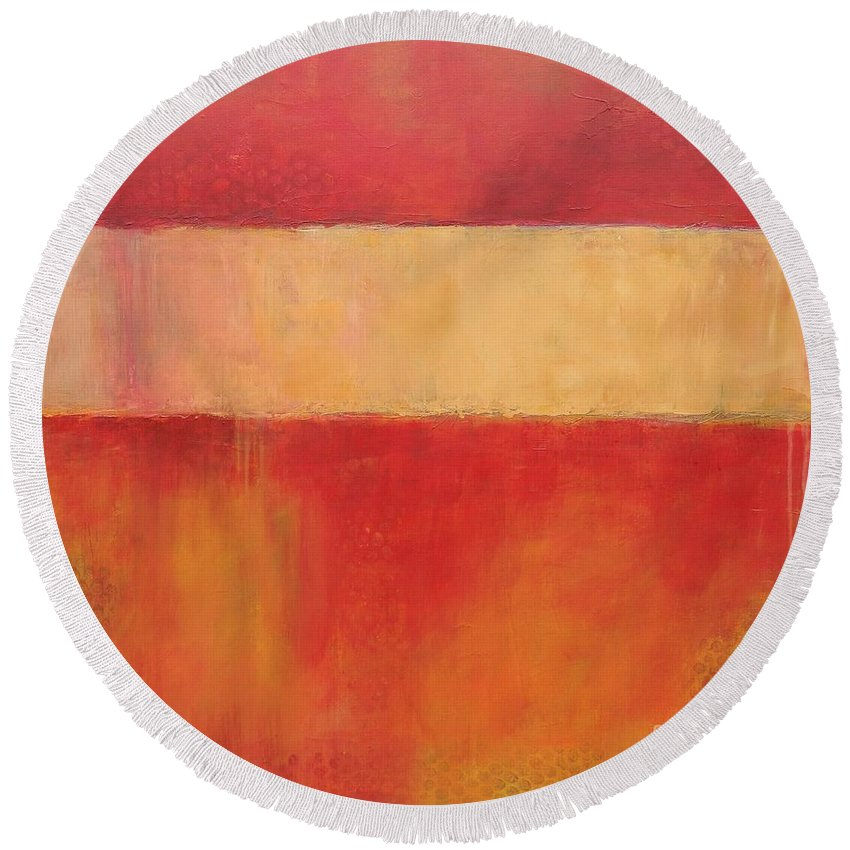 Red Round Beach Towel featuring the painting Ablaze by Kate Marion Lapierre