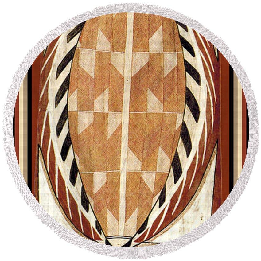 Aboriginal Bark Painting Round Beach Towel featuring the digital art Aboriginal Bark Painting by Vagabond Folk Art - Virginia Vivier