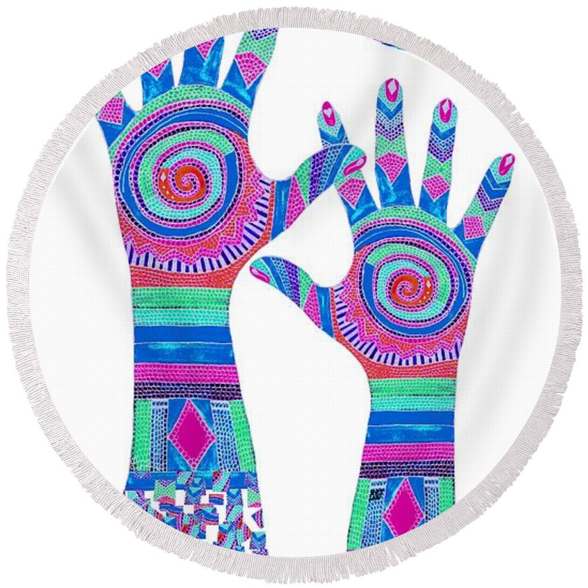 Aboriginal Hands Round Beach Towel featuring the digital art Aboriginal Hands Pastel Transparent Background by Barbara St Jean