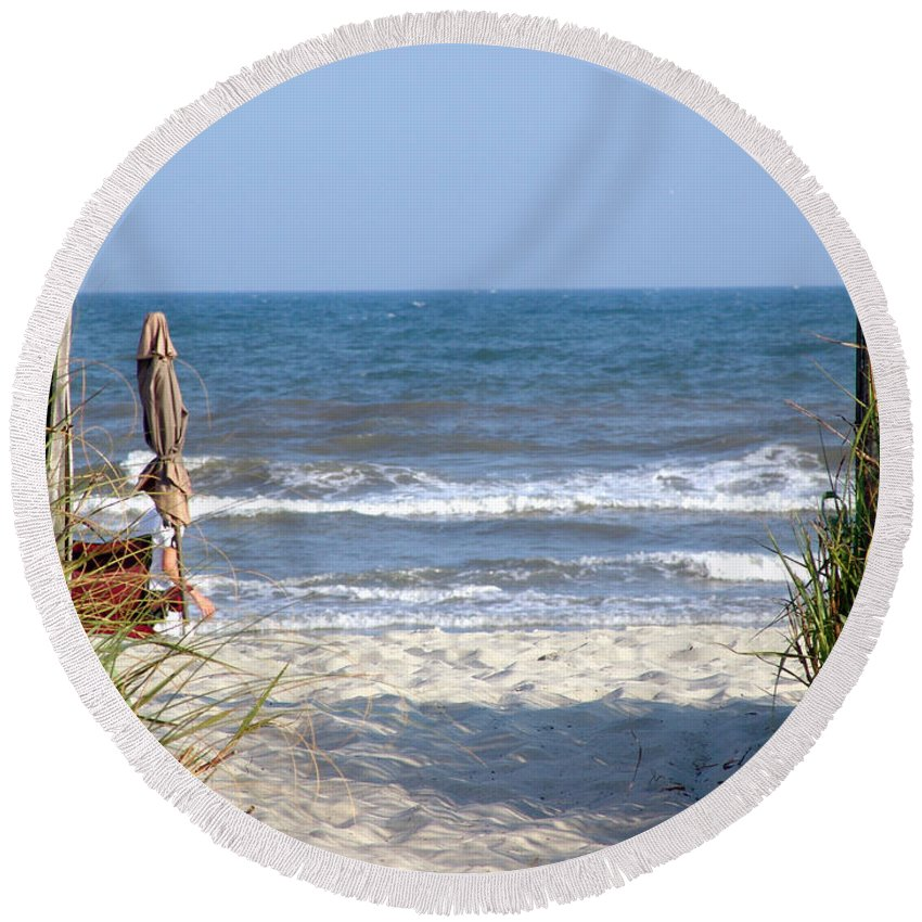 Beach Round Beach Towel featuring the photograph About Time by Lj Lambert