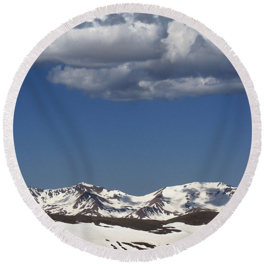 Colorado Round Beach Towel featuring the photograph Above It All by Amanda Barcon